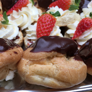 profiteroles and strawberry scones